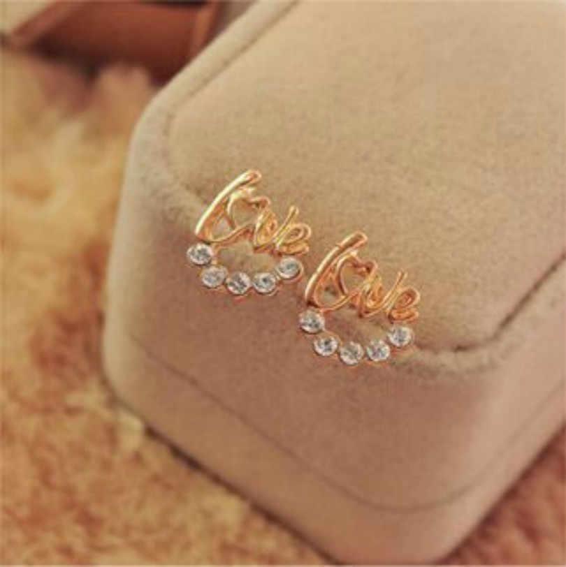 Joyería de moda Super Flash de cristal inglés amor carta pendientes lindos pendientes de cristal pendientes elegantes de lujo