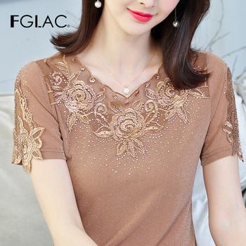 Koszula damska FGLAC nowy 2020 moda na co dzień z krótkim rękawem lato topy elegancka szczupła hollow out koronkowa koszula kobiet topy i bluzki tanie i dobre opinie Polyester Spandex REGULAR O-neck WOMEN Suknem Floral 8339