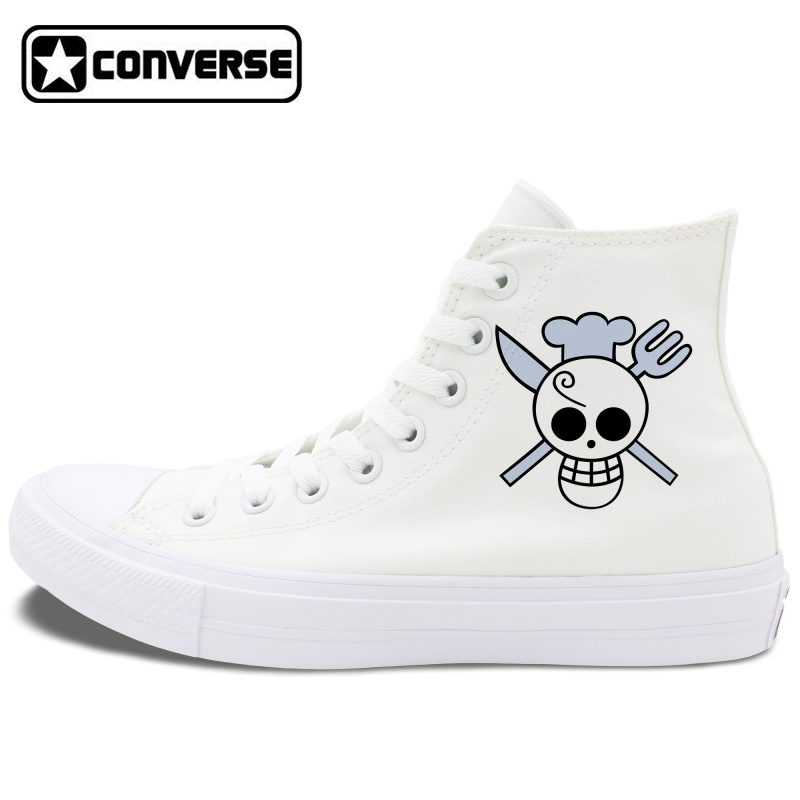 Converse Chuck Taylor II Black White All Star Shoes One Piece Sanji Canvas Sneakers Mens Womens High Top Skateboarding Shoes