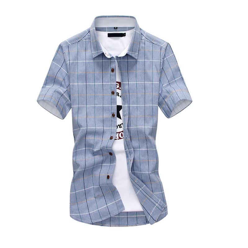 Red And Black Plaid Shirt Men Summer Casual Quality Dress Shirt Short Sleeve Chemise Homme Slim Fit Clothing Shirts Men