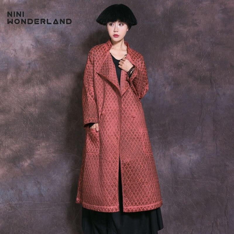 NINI WONDERLAND 2019 Autumn Winter Thin Trench Coat Women Plaid Do Old Vintage Long Outerwear Female