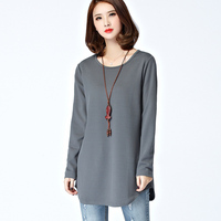 Leisure Loose T Shirt Women Tops Fashion Pure Color Female T Shirt Spring Casual Long Sleeve