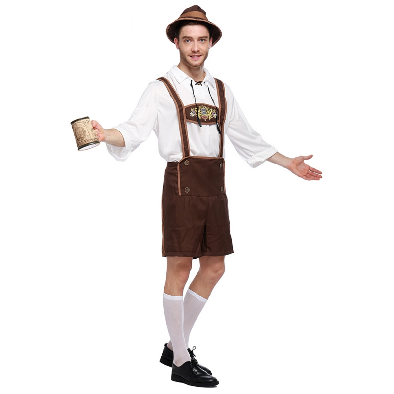 Men's German Oktoberfest Costume Adult Stage Performance Lederhosen Set Clothing Bavarian German Beer Costume F2