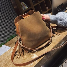 Fashion Scrub Women Bucket Bag Vintage Tassel Messenger Bag High Quality Retro Shoulder Bag