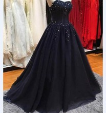 Navy Blue A Line Long Prom Dress Vintage Beaded Appliques Tulle Party Formal Gowns robe de bal longue 2017