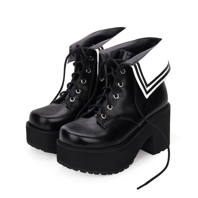 Cheville Femme Chaussures Fille Lolita Noir marron Empreinte 35 Talons Bottes Punk Partie Angélique Hauts Mori Main Robe Pompes Blue Lady Princesse 40 Femmes dark gzX0WR