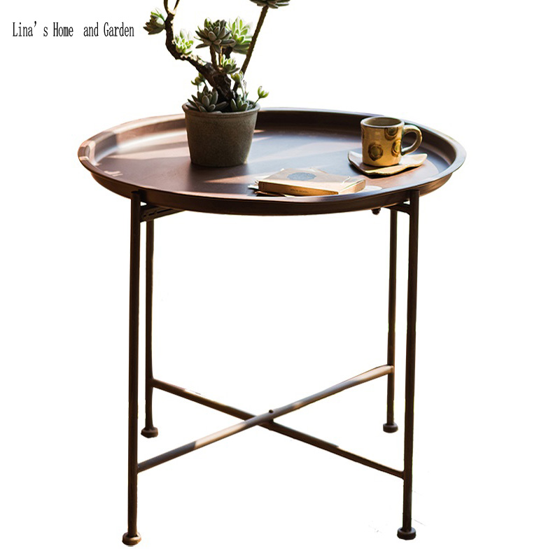 Antique Coffee Table With Folding Sides: Antique Rust Finish Round Folding Small Vintage Metal Side