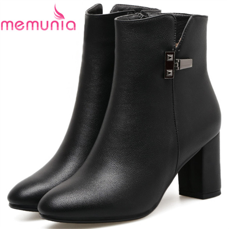MEMUNIA Fashion boots female high heels shoes woman in spring autumn ankle boots for women PU zip solid big size 34-41 memunia big size 34 43 over the knee boots for women fashion shoes woman party pu platform boots zip high heels boots female