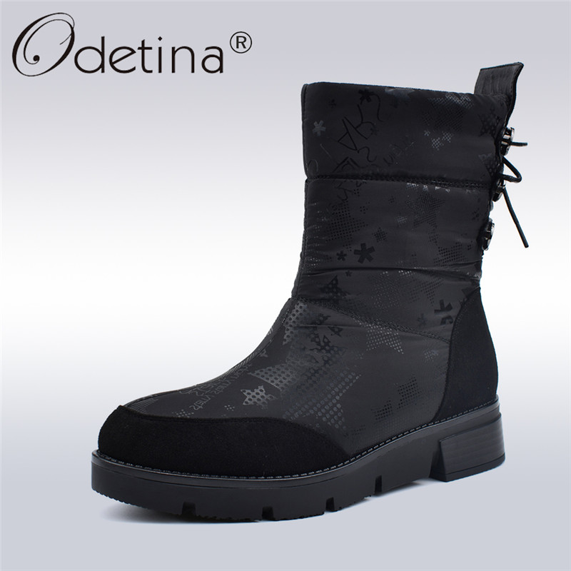 Odetina Down Snow Boots Women Fashion Print Back Lace Up Crystal Ankle Boots Zip Platform Wedge Heels Winter Thick Plush Shoes цена