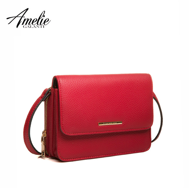 AMELIE GALANTI  Women Messenger Bags Female High Quality PU Leather Small Flap Ladies Purse Versatile Solid bag with zipper