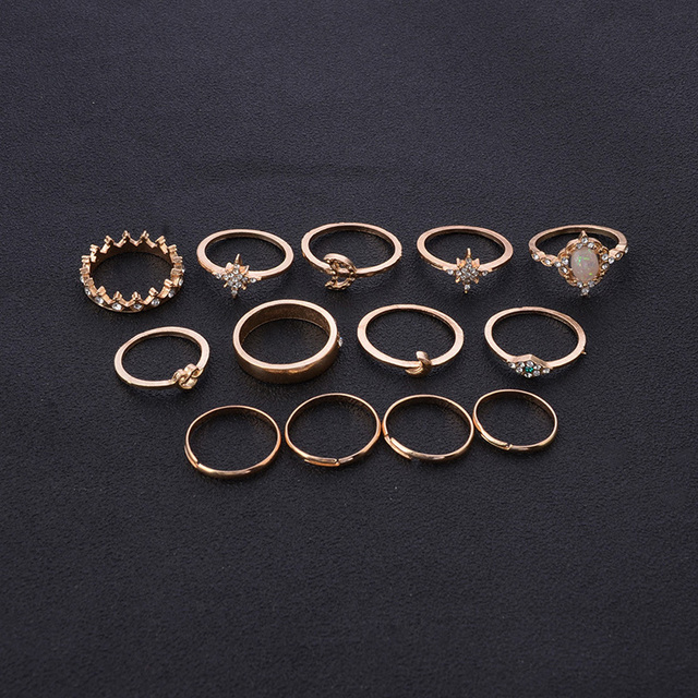 12Pcs/Set Vintage Star Opal Crystal Finger Ring Set Bohemian Gold Moon Crown Knuckle Midi Rings Women Jewelry Accessories 2