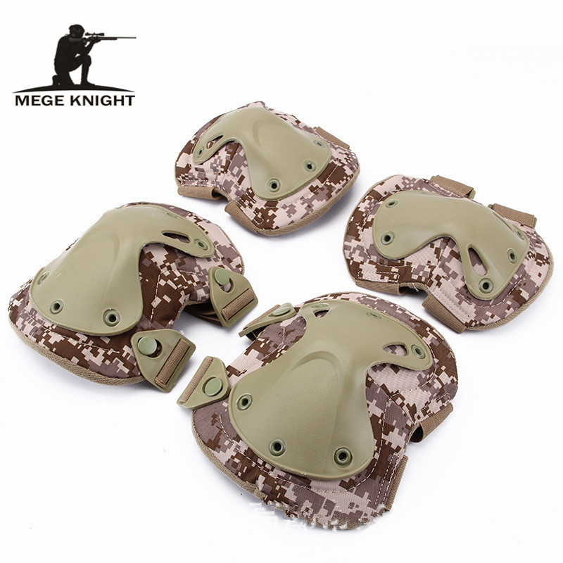 MEGE Camouflage Military Equipment, Rollers Skates And Protection, 2 Knee Pads & 2 Elbow Pads/ Piece