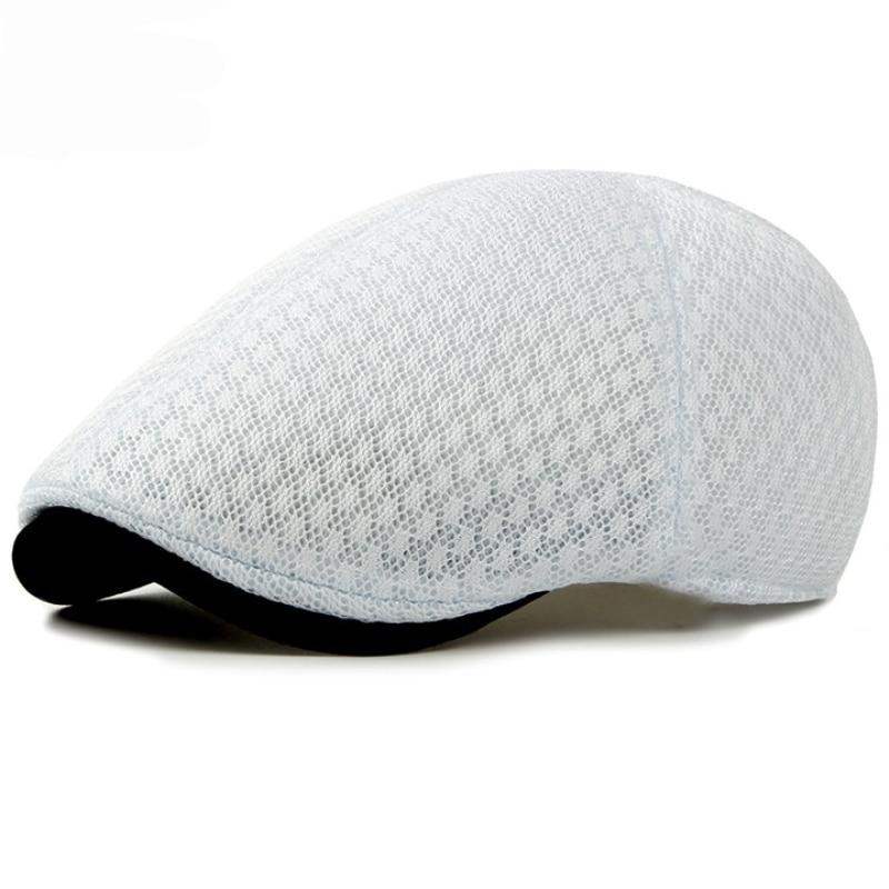 Hats Beret-Caps Black White Women Summer Mesh Sun-Cap Plain Cabbie Breathable Korea-Style