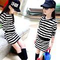 Children clothing Girl Dress Autumn 2016 Long Sleeve Black & White Stripes Girls Cotton Dress Teenage Dress Infantis Clothes