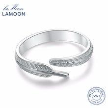 13d39459e73f LAMOON 2017 nueva pluma plumaje 925-esterlina-plata anillos ajustables S925  fina joyería para las mujeres regalo de boda LMRY049