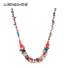 LUBINGSHINE Women Natural Stone Gravel Charms Necklaces Chokers for Girls Handmade Statement Necklace Holiday Fashion Jewelry(China)