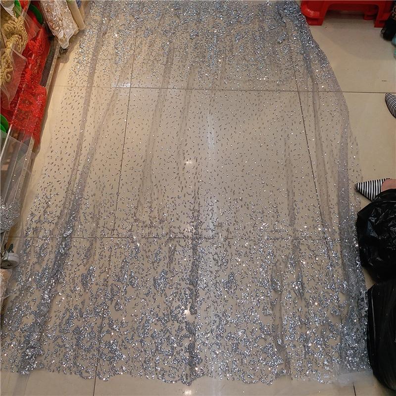 5 yards mit geklebt glitter auf verkauf z han111658 stickerei mesh material für abendkleid-in Spitze aus Heim und Garten bei  Gruppe 1