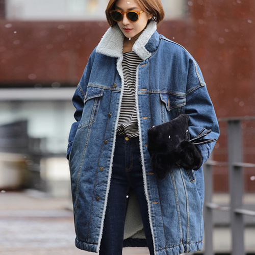 schweden frauen langen parkas plus gre tasche lose dick blau jeans fleece warm jeansjacke chaqueta in mantel 2019 winter outwear MSVzqUp