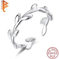 BELAWANG High Quality Jewelry Fashion Simple Open Design Leaf Ring 925 Sterling Silver Female Engagement Wedding