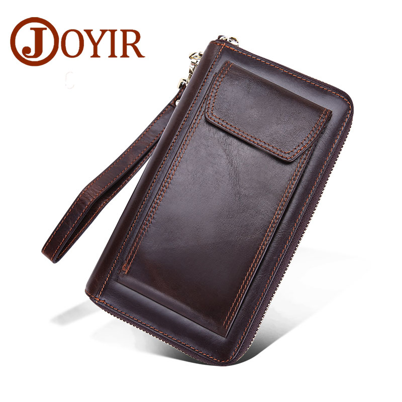 JOYIR Designer Brand Genuine Leather Men Wallets Zipper Business Male Wallet Purse Card Holder Long Clutch Wallets brand men wallets dollar purse genuine leather wallet card holder luxury designer clutch business mini wallet high quality