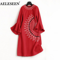 Winter Women Woolen Dresses Vintage Red Dark Blue High Quality Flare Sleeve Runway Brief Warm A