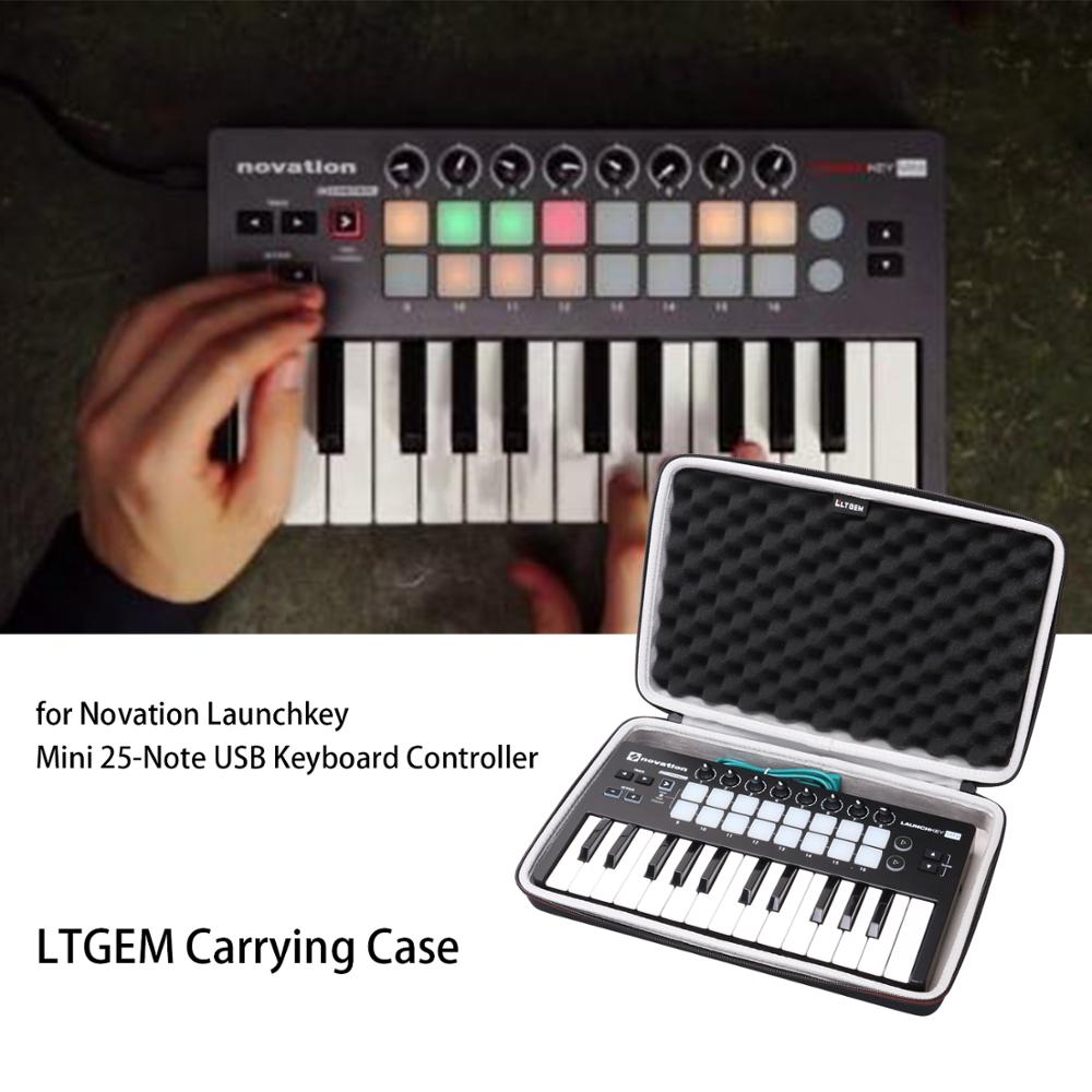 LTGEM EVA Hard Case For Novation Launchkey Mini 25-Note USB Keyboard MK2 Controller - Travel Protective Carrying Bag