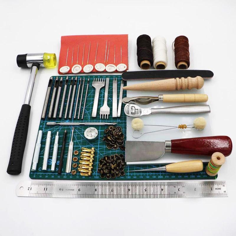 69 pièces/ensemble cuir professionnel artisanat outils main couture couture poinçon sculpture travail selle Groover Kit bricolage pratique chaud