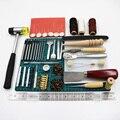 69 unids/set herramientas de artesanía de cuero profesional mano costura puntada tallado trabajo sillín Groover Kit DIY práctico caliente