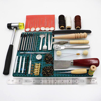 69pcs/set Professional Leather Craft Tools Hand Sewing Stitching Punch Carving Work Saddle Groover Kit DIY Practical Hot