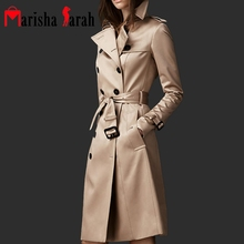 Spring Autumn Brand Casual Trench Coat For Women Plus Size Long Double Breasted Slim Windbreaker Outerwear Elegant Overcoats