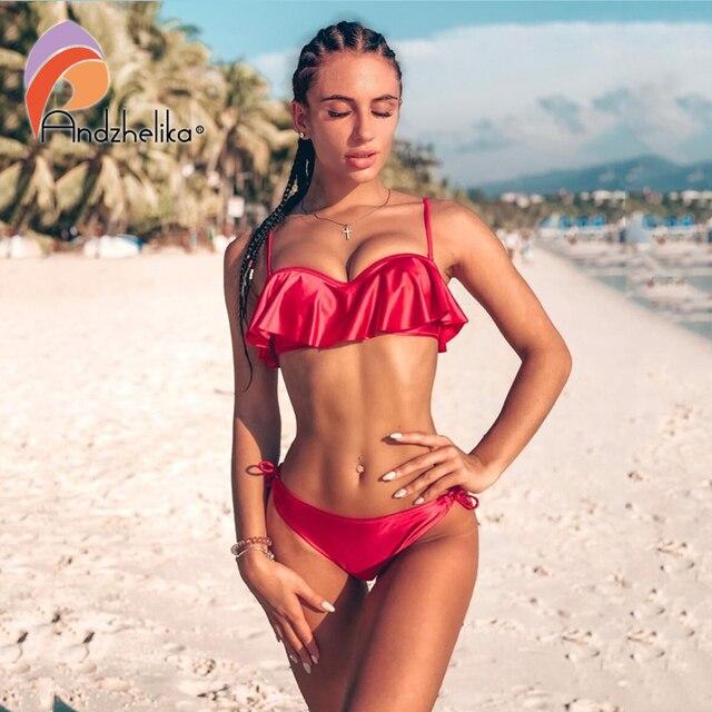 Anadzhelia Sexy liści lotosu Bikini kobiet strój kąpielowy brazylijski Bikini zestaw strój kąpielowy na plaży strój kąpielowy Push Up trzy kawałek stroje kąpielowe pływać