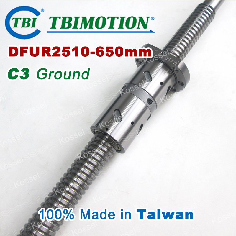 TBI 2510 Right Rotation 650mm Customized Grinding Ballscrew DFU2510 ball screw with one Double ball nut  diy CNC machine винт tbi sfkr 0802t3d