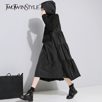 TWOTWINSTYLE Hoodies Ruffles Midi Dress Women Autumn Loose Big Size Black Pleated Dresses Female Patchwork Casual Clothing Tide