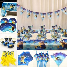 82pc/set Minions Party Tablecloth plate cup napkin straw flag spoon Kids Birthday Supplies Tableware Decoration Favor Set