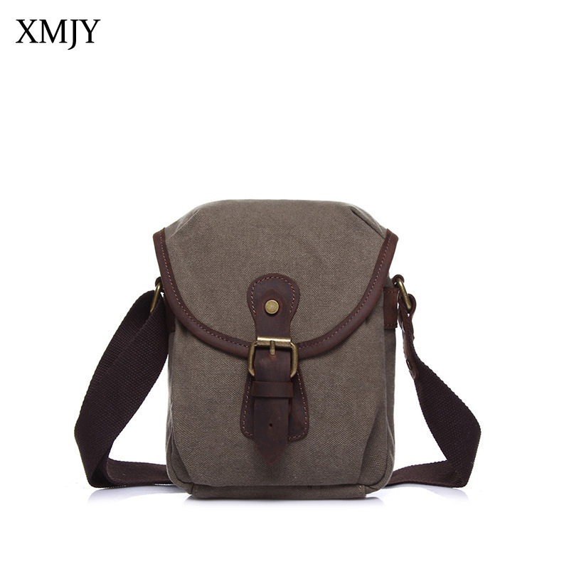 XMJY Men Women Canvas Messenger Bags Leather Small Mini Crossbody Bag Vintage Stylish Shoulder Pack Casual Short Trip Travel Bag canvas leather crossbody bag men briefcase military army vintage messenger bags shoulder bag casual travel bags