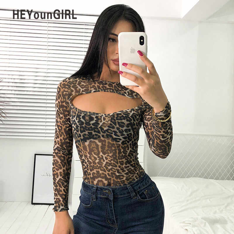 32b79d61802 Detail Feedback Questions about HEYounGIRL Transparent Body Femme Sexy  Bodysuit Mesh Leopard Print Long Sleeve Bodysuit Women Hollow Out Bodycon  Jumpsuit ...