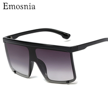 Fashion Big Frame Flat Top Sunglasses Black Gradient Women S