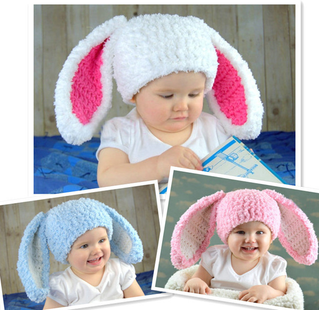 New Newborn baby hat Bunny Hats Blue Fluffy Easter Bunny Hat Rabbit Ears  Beanie with Floppy Ears Children s Photography prop 2ad8cb5b12aa