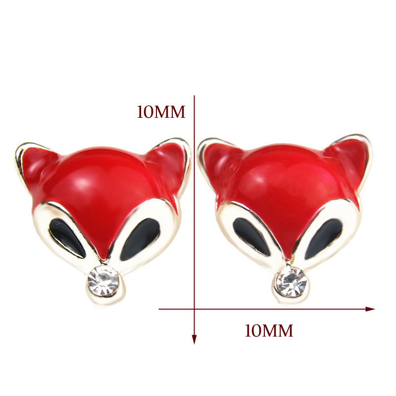 PULATU 6 Color Little Fox Small Stud Earring for Women Rhinestone Enamel Animal Earrings Men Kid Fashion Jewelry Gift ED0561