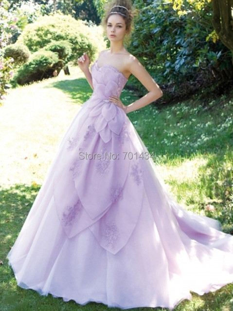 High Quality A Line Sweetheart Lavender Wedding Dress Stunning Light Purple Bridal
