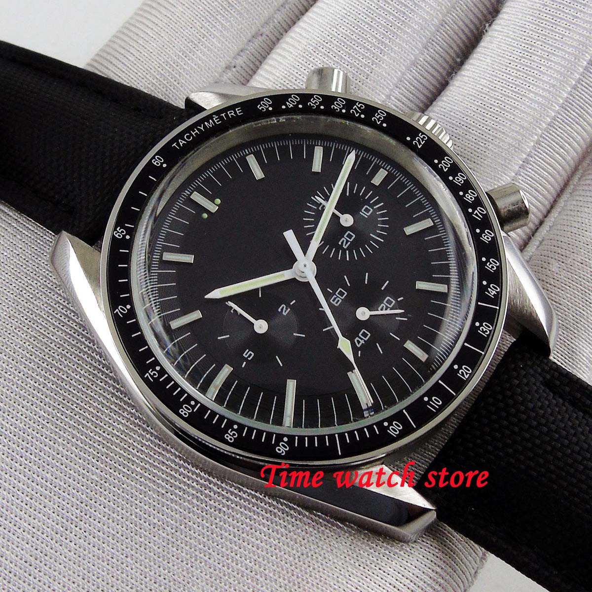40mm Bliger Multifunction men s watch black dial Arched glass date week Automatic movement wrist watch