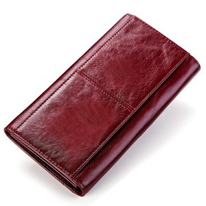 Image 2 - KAVIS Genuine Leather Women Wallet and Purse Female Coin Purse Portomonee Clamp For Money Bag Zipper Card Holder Handy Perse