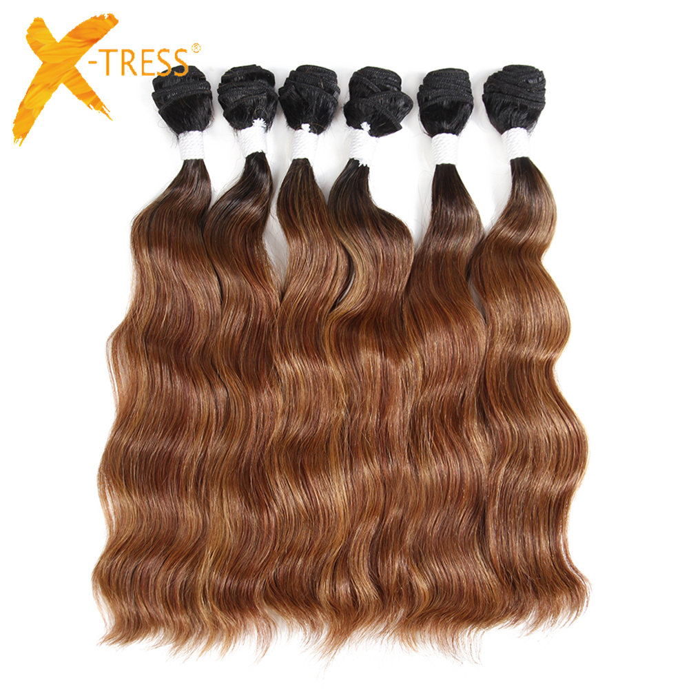 Natural Wave Synthetic Hair Weave 6 Bundles 14-20inch X-TRESS Long Soft Ombre Brown Color Hair Weft Extensions For Full Head title=