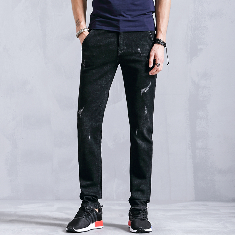 99% Cotton Distressed Skinny Male Denim Slim Fit Pencil Casual Jeans Men Clothes Fashion Trousers For Mens Clothing K803