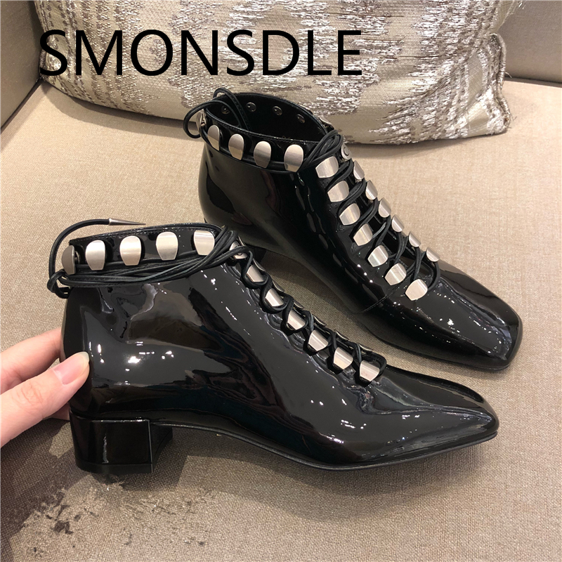 2018 New Fashion Ankle Boots Women Shoes Lace Up Chunky Heels Square Toe Genuine Leather Martin Boots Black Casual Shoes Woman 2018 new fashion spring autumn genuine leather motorcycle boots shoes woman pointed toe ankle boots chunky mid heels women shoes