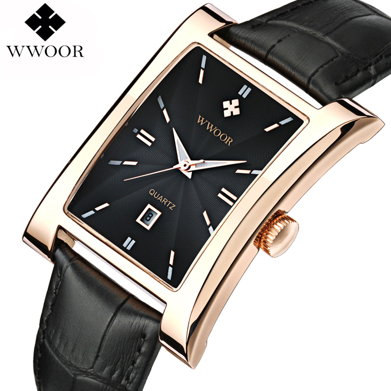 WWOOR Brand Luxury Date Square Quartz Watch Men Water Resistant Genuine Leather Casual Sports Wrist Watch Men Black Analog Clock alike ak1391 sports 50m water resistant quartz digital wrist watch black orange