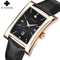 WWOOR Brand Luxury Date Square Quartz Watch Men Water Resistant Genuine Leather Casual Sports Wrist Watch Men Black Analog Clock