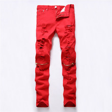 NEW Red White Black Ripped Denim Pant  Knee Hole Zipper Biker Jeans Men Slim Skinny Destroyed Torn Jean Pants cotton jeans