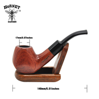 HORNET Bent Red Sandalwood 9mm Filter Tobacco Pipe Smoking Pipe With 6 Accessories