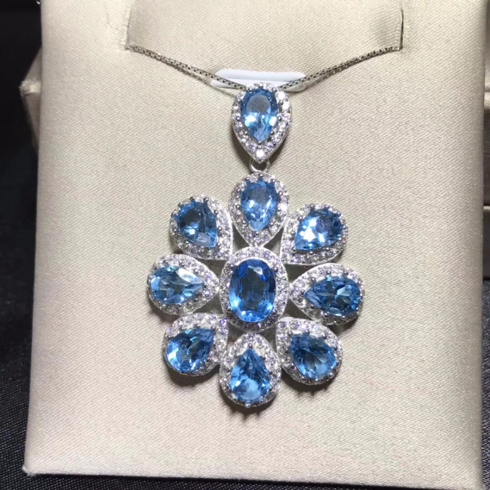 Luxury style necklace, natural topaz necklace, 925 silver, European and American style luxury color jewelry